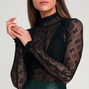Free People Sweet Memories turtleneck lace blouse